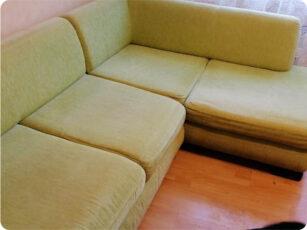 Химчистка дивана зеленого цвета